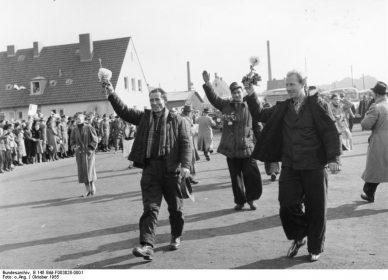 Heimkehrer im Lager Friedland, Besuch des Bundespräsidenten, 17.-19.10.1955