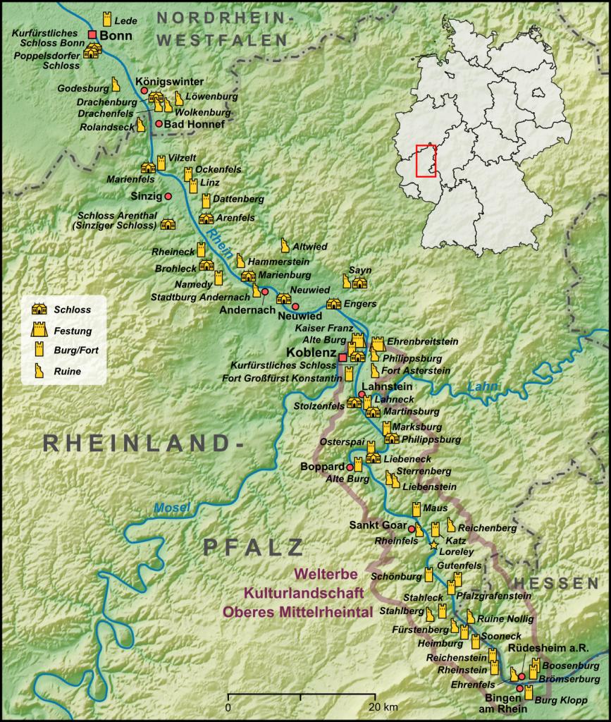 Karte des Mittelrheins