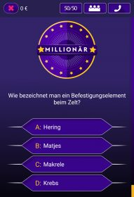 Screenshot vom Millionenshow Quiz